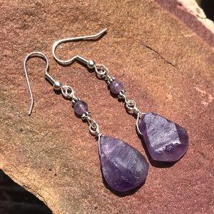 Rough-cut teardrop & beaded amethyst earrings